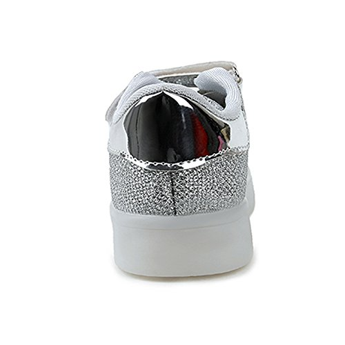 OverDose LED Luminous Sneakers, Mode Baby Mädchen Jungen Turnschuhe LED Leuchtendes Kleinkind beiläufige Bunte Helle Schuhe Silber