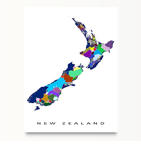 New Zealand Map Print, South Pacific, Mosaic Art Poster