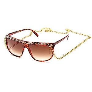 Kyra Womens Chain Fashion Retro Sunglasses in Tortoise/Gold