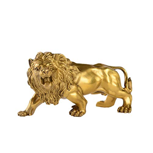 Chinese Fengshui Handmade Brass Magical and Noble Lion Statue Home Decor Housewarming Gift