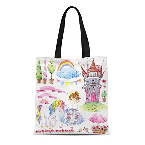 Semtomn Canvas Tote Bag Shoulder Bags Colorful Birthday Fairy Tale Kingdom of Watercolor Castle Princess Women's Handle Shoulder Tote Shopper Handbag ()