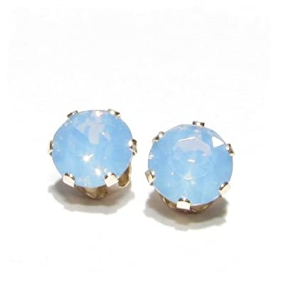 e748d464dbfc GOLD STUD EARRINGS MADE WITH AIR BLUE OPAL SWAROVSKI CRYSTAL. HIGH QUALITY.  LOW PRICES.  Amazon.co.uk  Jewellery