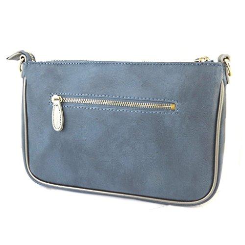 Bolso de la bolsa 'Ted Lapidus'azul de la vendimia (3 compartimentos)- 28x19x7 cm.