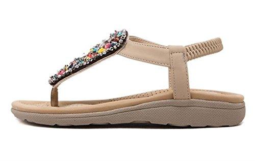 Minetom Damen Sommer Bohemia Flach Sandalen Beaded Strass Flip Flop Schuhe Peep Toe Strandschuhe Aprikose
