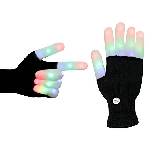 LED Gloves, Finger Light up Colorful Glow Rave Glove with 3 Colors 6 Modes Flashing for Kids Adults for Party LightShow Disco Performances EDM Camping Halloween Christmas Birthday Gifts