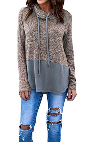 (Hibluco Women's Cowl Neck Long Sleeve Pullover Sweater Blouse Knit Tops Coffee)