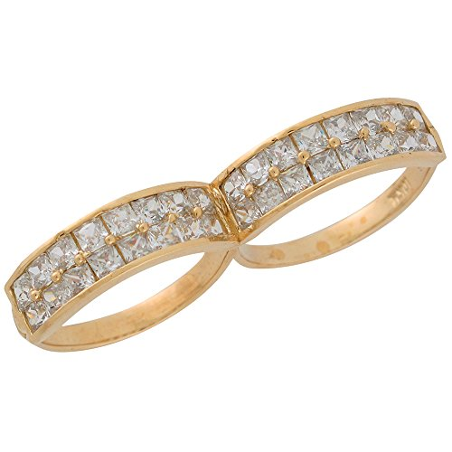 14k Yellow Gold Brilliant White CZ Two Finger Fancy Hip-hop Ring by Jewelry Liquidation