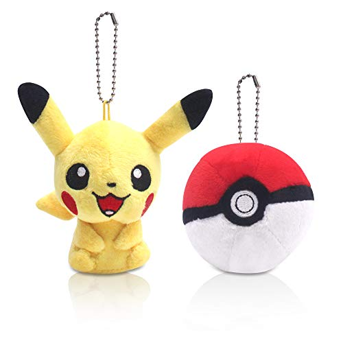FINEX Set of 2 Pikachu Yellow Plush Male Pikachu Ball Pokeball Beaded Chain Keychain Hanging Ornaments]()