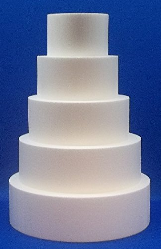 5 Piece Cake Dummy Set, Round 4'' Thick by 6'', 8'', 10'', 12'', 14'' by Generic (Image #1)