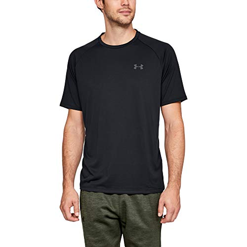 Under Armour mens Tech 2.0 Short Sleeve T-Shirt, Black (001)/Graphite, Large