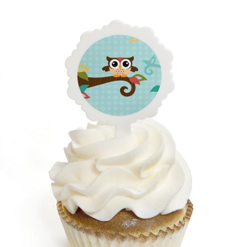Owl Cupcake Stickers Birthday Toppers