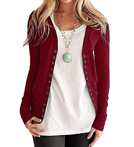 Pure Color Coat Long Autumn Women's Front Mogogo Sleeve Top Red Wine Knit Open IUnT1wx