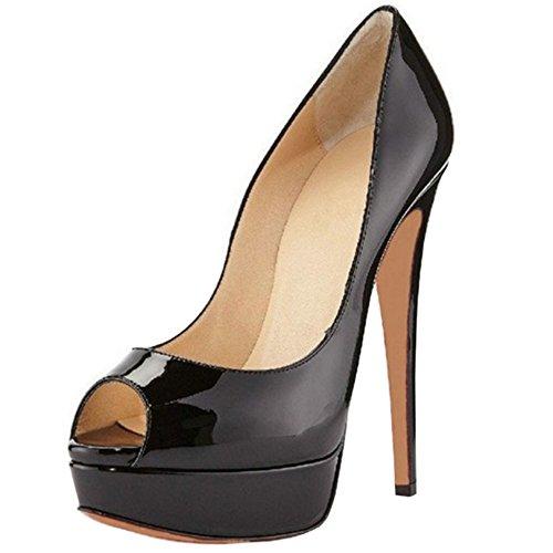 Taoffen Sandals Women Platform Peep Heel On Basic Party Slip Summer Patent Black Toe Stiletto 4Sqr4a7w