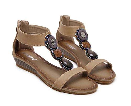 cm talón abierto la del cremallera Color strap 3 de del cuña del D'orsay de moda Zapatos de vestir Las Rhinestone dedo de del Ankel Pure de Beige pie S Zapatos ocasionales Romano Correa mujeres T de Bohemia q0w47f0t