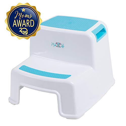 2 Step Stool for Kids | Slip Resistant Soft Grip for Safety | Toddler Two Step Stool for Kitchen, Bathroom and Toilet Potty Easy Training | Dual Height and Wide Step with Carrying Handles (1 Pack)