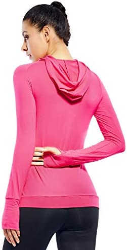 WOMENS LIGHTWEIGHT HOODIE PULLOVER-HOODED LONG SLEEVE RUNNING YOGA WORKOUT TOPS FOR WOMEN-COWL NECK&THUMBHOLE
