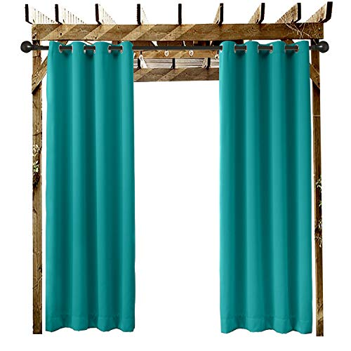 """Extra Wide Outdoor Curtain Turquoise 200"""" W x 96"""" L Grommet Eyelet in Front Porch Pergola Cabana Covered Patio Gazebo Dock and Beach Home (1 Panel)"""
