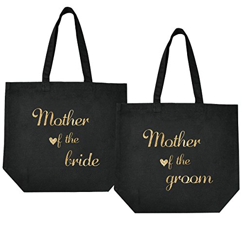 Bags Noir The 3 cadeau Bride Femmes Bridesmaids à Of mariage 100 moyen Elegantpark Sac Groom Naturel Tote The Of de faveur mothe Packs Coton Mother qY6gp