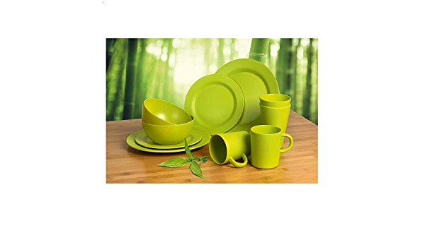 Camp 4 Lugo - Juego de vajilla, de bambú, 10 piezas, para 2 personas, color verde lima