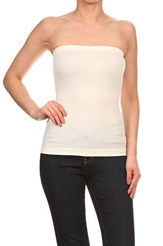 rs Solid Strapless Seamless Long Tube Top Ivory One Size (Ruby Ribbed Tank Top)