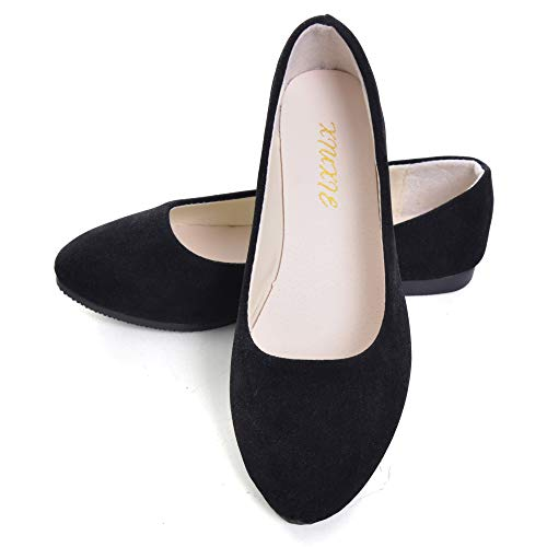 Dear Time Women Flat Shoes Comfortable Slip on Pointed Toe Ballet Flats (US 8.5, Simple Black)