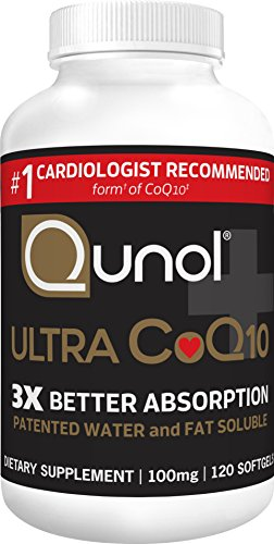 Qunol Ultra CoQ10 100mg, 3x Better Absorption, Patented Water and Fat Soluble Natural Supplement Form of Coenzyme Q10, Antioxidant for Heart Health, 120 Count Softgels ()