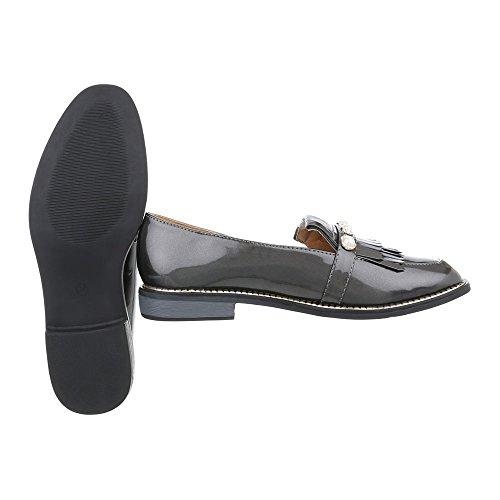 Schuhcity24 Damen Schuhe Halbschuhe Slipper Grau
