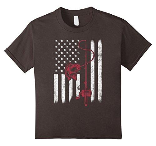 Kids Vintage Fishing Tshirt with American Flag Bass Fishing 4 Asphalt