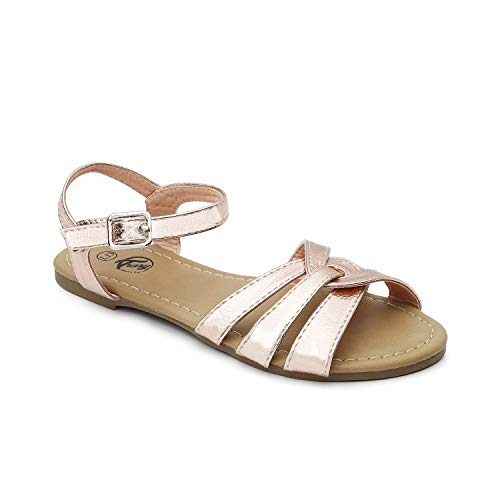 Trary Cross-Strap and Adjustable Buckle Flat Sandals for Kids Rose Gold - Leather Strap Rose Gold