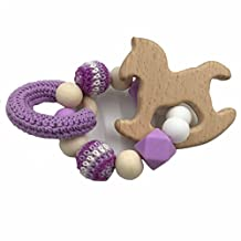 Amyster Baby Wooden Teether Beech Horse Wood Teething Montessori Toys Baby Rattle DIY Chewable Crochet Beads Bracelets (Purple)