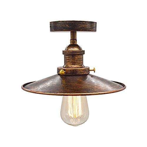 Huahan Haituo Vintage Industrial Farmhouse Semi Flush Mount Copper Ceiling Lamp One Light Fixture with Industrial Black Lamp Shade Downlight(Sweeping Gold,Style A) Copper Semi Flush Ceiling Light