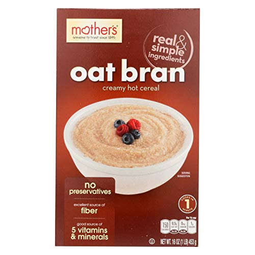 Mothers, Cereal Hot Oat Bran, 16 OZ (Pack of 6)