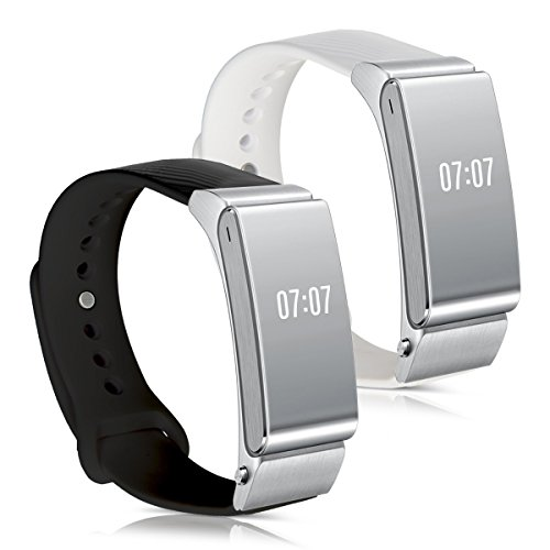 kwmobile 2in1 set: 2x sport spare bracelet for Huawei Talkband B2 in black white Inner dimensions: approx. 14 - 18 cm - silicone bracelet with closure without tracker