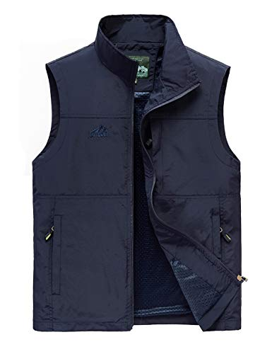 Hixiaohe Men's Lightweight Outdoor Work Fishing Photo Travel Hiking Vest Gilet (06 Navy, M)