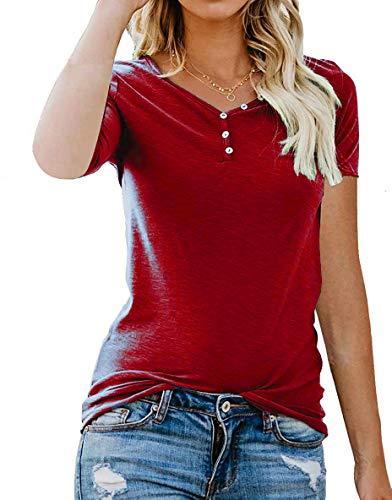 Sweetnight Women's Summer Short Sleeve Henley Button Down Tee Shirt Holiday Tops Red XL ()