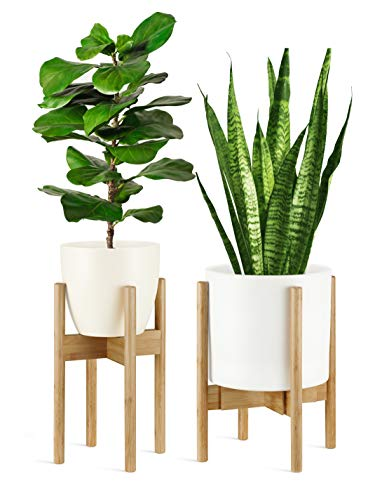 (GreeMoose Plant Stand Indoor / Adjustable (8 -12 Inch) Bamboo / Mid Century / Swedish Style (Planter Not Included))