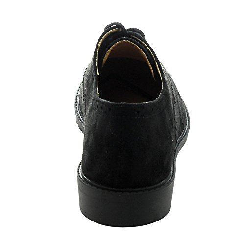 FOREVER GD61 Women's Lace Up Low Chunky Heel Casual Oxford Shoes, Color:BLACK, Size:8