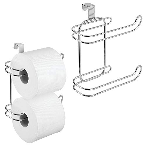 (mDesign Metal Compact Hanging Over The Tank Toilet Tissue Paper Roll Holder and Dispenser for Bathroom Storage - Holds 1 Extra Roll - Space Saving Design - 2 Pack - Chrome )