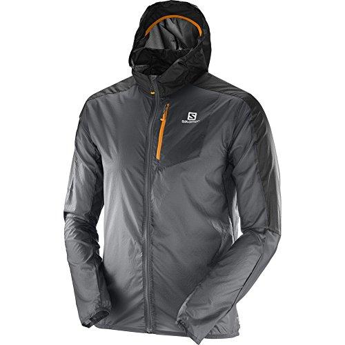 Salomon Men's Fast Wing Hoodie Jacket, Forged Iron, Black, XL (Wing Fast Salomon)