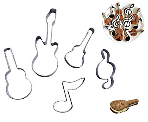 Efivs Arts Bass Guitar Music Notes Qute Stainless Steel Cookie Cutter Fondant Cutter Cake Cake Decoration Tools 5 Pcs Set