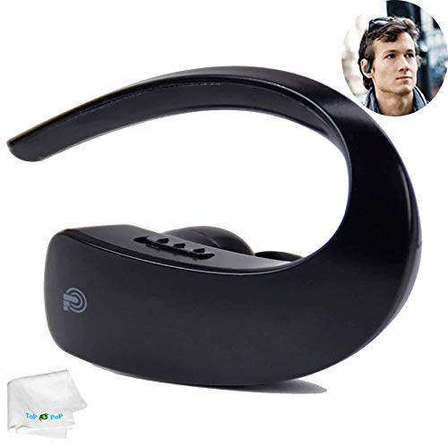 Bluetooth Headset Earpiece Voice Command Wireless Headphone Handsfree Call Earbud Stereo Earphone with Mic Compatible with Android iOS Cell Phones Business Office Trucker Driver Men Women Black best to buy