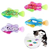 4 Pack Interactive Swimming Robot Fish Toy for Cat Dog, Automatic Cat Pounce Teaser Toy with LED Light, Cat Catch Interactive Light Toy Training Tool for Cat Dog Pet Kittens Kitty Puppy (Random Color)