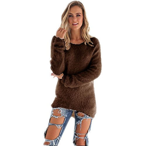 Blackobe Women Solid Color Long Sleeve Hi-low Hem Pullover Scoop Neck Sweater (M, Coffee)