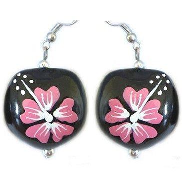Hawaiian Kukui Pink Flower Earrings
