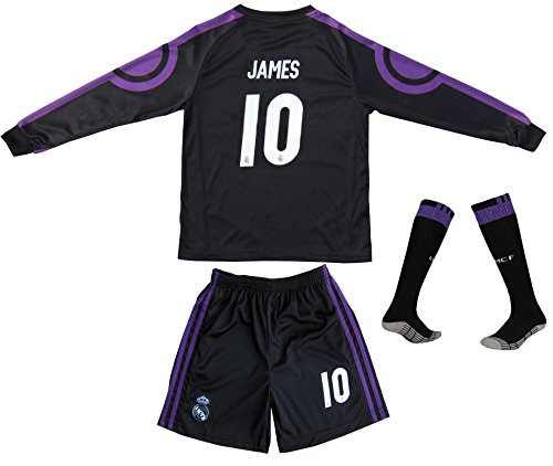 2016/2017 Real Madrid James Rodriguez #10 Away Black Long Sleeve Soccer Kids Jersey & Short Set Youth Sizes (6-7 Years)