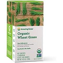 Amazing Grass Organic Wheat Grass Powder, Individual Servings, 15 count .28oz, Greens, Detox, Alkalize, whole leaf, Gluten Free, GMO Free, vegan