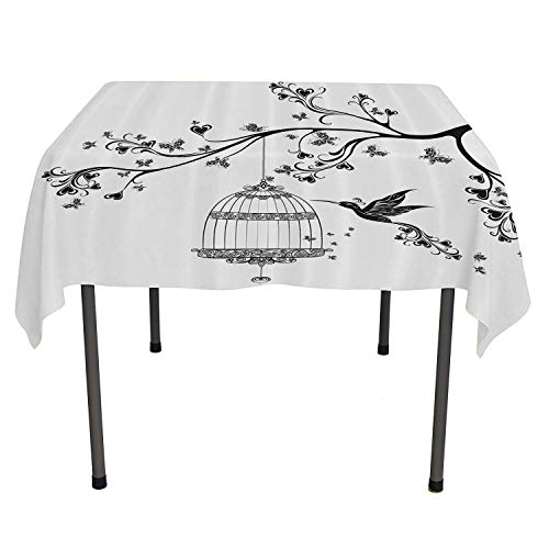 top Quality tablecloths Birds Out of Cages Spring Birdcage on Branch Wings Tail Romantic Love Heart Image Outdoor Tablecloth Picnic Spring/Summer/Party/Picnic 50 by 80