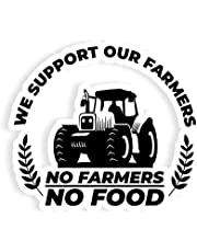 Pack of 2 No farmer no food sticker of 10 & 7 inches use on windows/car-body/laptops/Mirror/ Any metal Surface