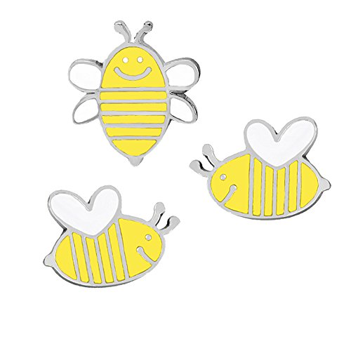 Fashion Cartoon Enamel Brooch Pins Set for Unisex Child Women's Clothing Decorate (3pcs Little Bee) ()