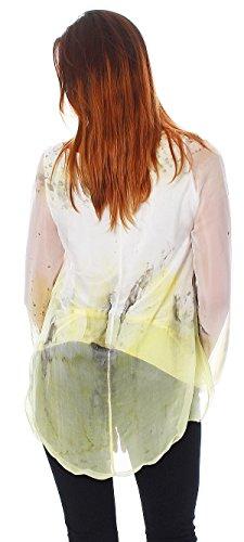 Mujer seda/viscosa túnica, blusa de 2capas con modernos Batik degradado amarillo